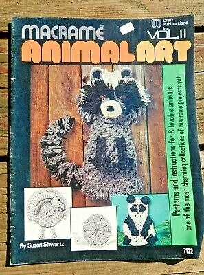 VINTAGE 1970's MACRAME ANIMAL ART VOL 11 HOW TO PATTERN BOOK