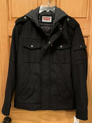 NEW Men's Levi's Black Wool Blend Strauss Thick Winter Hooded Coat/Jacket. SZ-S