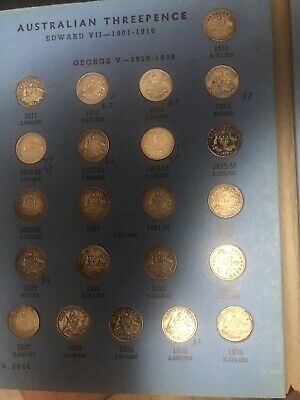 1910 to 1964 Australian Threepence complete set in old Whitman album