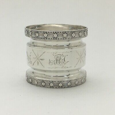 "A Magnificent Aesthetic Bright Cut Engraved Sterling Silver Napkin Ring ""MJ"""