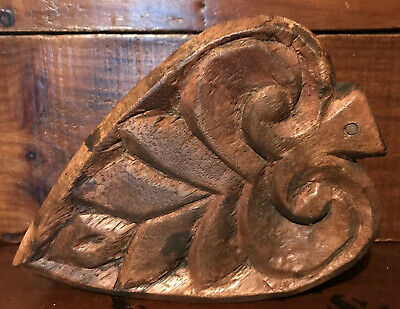 Antique Primitive Folk Art Folky Carved Leaf Wood Box With Sliding Lid AAFA