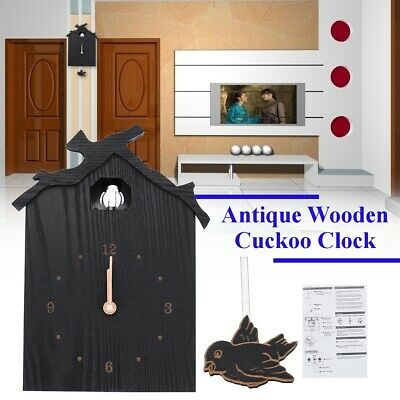 Antique Wooden Cuckoo Clock Bird Time Bell Swing Alarm Wall Home