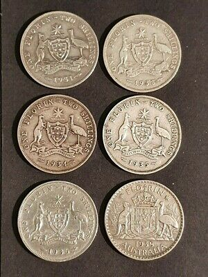 AU - 6x SILVER FLORINS from 1931, 1933-1936 and 1938