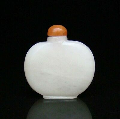 Chinese Natural HeTian Jade Handmade Carved Statue Exquisite Snuff Bottles 002