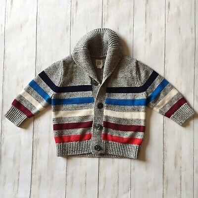 Baby Gap Toddler Infant Boys Size 12-18 Months Gray Striped Cardigan Sweater