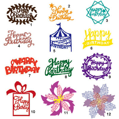 Happy Birthday Cutting Dies Metal Stencil DIY Scrapbook Album Paper Card Word
