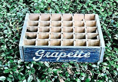 Vintage Grapette Soda Pop Wooden Crate Very Solid 30 Dividers 1940`s #131
