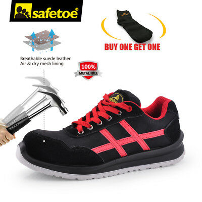 Safetoe Mens Work Safety Shoes Metal Free Light Breathable Composite Toe Leather