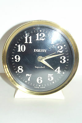 Antique Clock Vintage 1970 Equity Superbell Clock Mechanical Deco Design Clock
