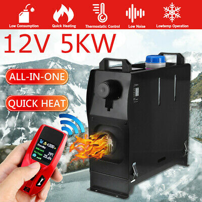 5KW 12V All in One Diesel Air Heater LCD Upgrade Remote For Lorrys Motorhome Bus