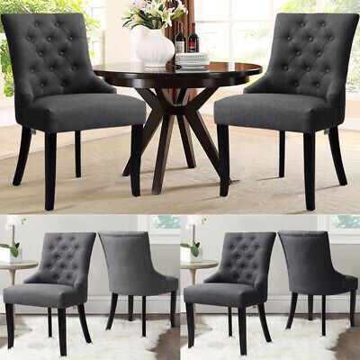 Set of 2 Dining Accent Chair Curved Button Tufted Fabric Upholstery Scoop Lounge