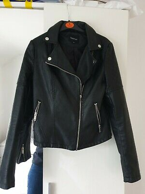 Boohoo. ladies/girls black leather effect biker jacket, vgc ,size small