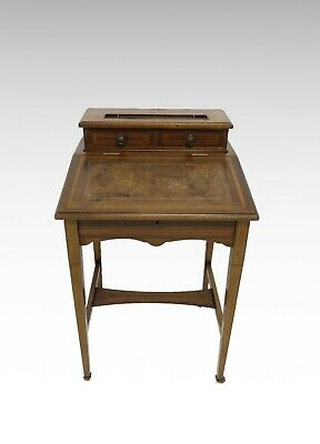Antique Edwardian inlaid open base davenport desk #2488L