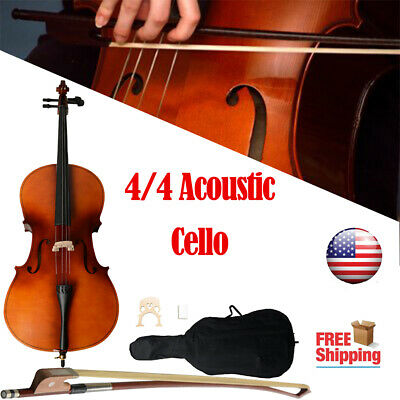 New 4/4 Full Size Matt Basswood Acoustic Cello +Bag+Bow+Rosin Wood Color