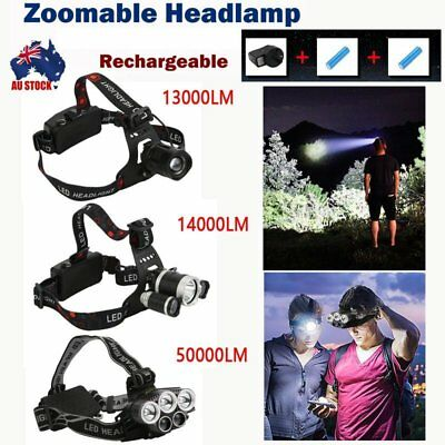 13000/14000/50000LM LED Headlamp Rechargeable HeadLamp  T6 Head Torch a#