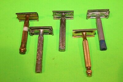 Vintage Gillette Lot Of 5 Safety Razors Gold Razor Made In USA