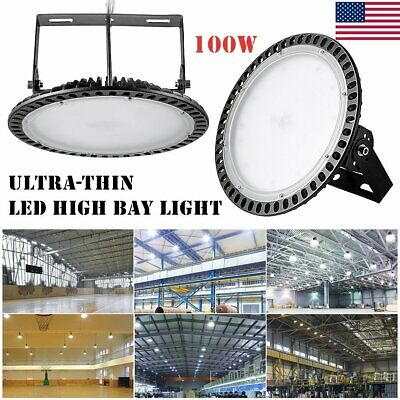 100W Ultra-thin LED High Bay Light Warehouse Industrial Commercial Shop Light UK
