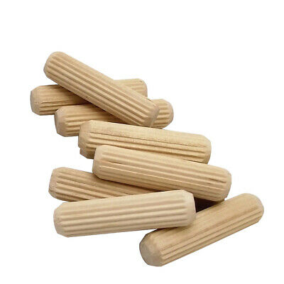 50x 25mm Fluted 8mm Diameter Hardwood Dowels Pins Pegs Fixing Wooden Plugs