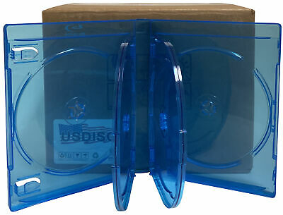 25 USDISC Blu-ray Cases Chubby 21mm, Sextuple 6 Disc (Clear Blue)
