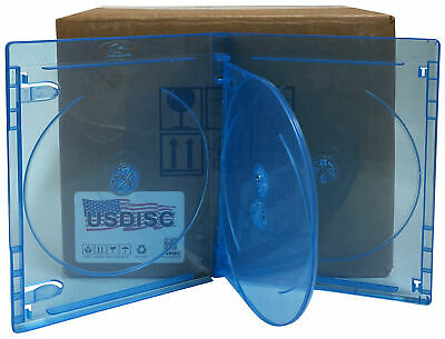 25 USDISC Blu-ray Cases Standard 14mm, Quadruple 4 Disc (Clear Blue)