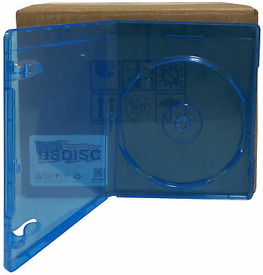 100 USDISC Blu-ray Cases Standard 12mm, Single 1 Disc (Clear Blue)