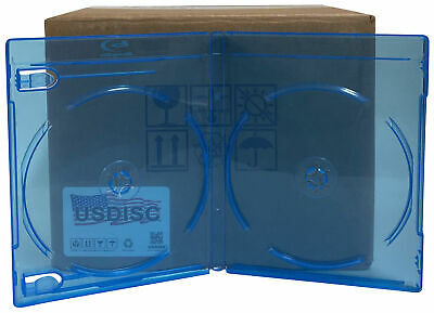 25 USDISC Blu-ray Cases Standard 12mm, Double 2 Disc (Clear Blue)