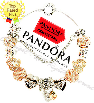 Pandora Charm Bracelet Silver Gold VALENTINE Hearts with European Charms New