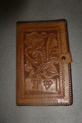 "Vintage Leather Journal Cover Notebook Pocket Notepad Tooled 8.5x5""  T.V."