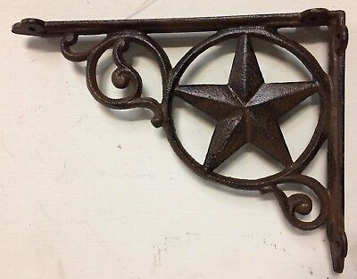 WESTERN STAR WALL SHELF BRACKET BRACE, Antique Rustic Brown patina cast iron 9""