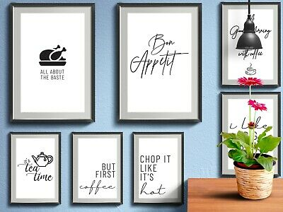 Kitchen Prints Funny Quotes Wall Word Art Poster Home Pictures Gift Decor Dining