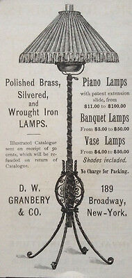 Antique 1888 Ad (1800-14)~D.w. Granbery Co. Broadway. Piano,Banquet Lamps