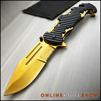 TACTICAL Spring Assisted Open Pocket Knife CLEAVER RAZOR FOLDING Gold Blade NEW!