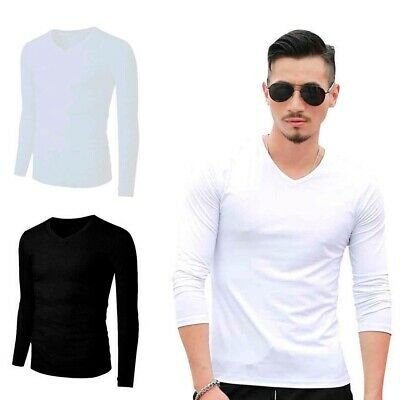 XXR Mens V neckShirt Full Sleeve Plain Pique Top Designer Style Fit T Shirt Tee