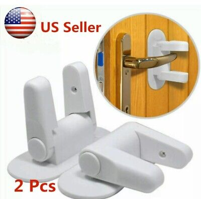 Door Lever Lock Safety Child Proof Doors Adhesive  Handle Baby Safety- 2 LOCKS!