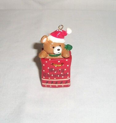 Teddy Bear n Gift Bag Merry Christmas Tree Ornament Miniature Figurine Santa Hat