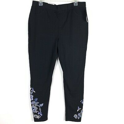 Style Co Womens Leggings Size Large Black Blue White Embroidered Floral 460