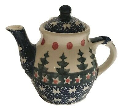 Polish Pottery Festive Holiday Trees Design Teapot Handcrafted Holiday Ornament