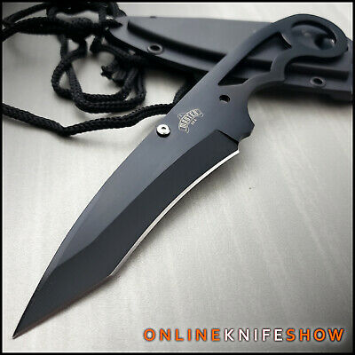 "7"" BLACK TACTICAL MILITARY FULL TANG FIXED BLADE NECK BOOT KNIFE w/ SHEATH NEW"