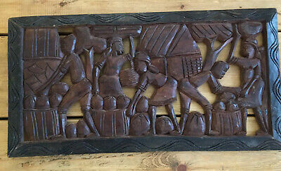 Antique Hand Carved Wooden Wall Art Plaque African Slavery Slave Trade Black Art