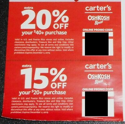 Carter's Oshkosh Coupons 20% OFF $40 & 15% OFF $20 Online In Store 12/2/19
