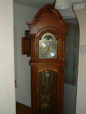 large 8 day weight driven grandfather clock with westminster chimes