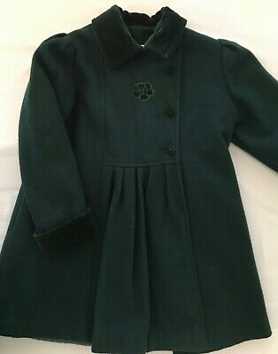 Little Nugget Coat Vintage 1970's Dressy Forest Green Velvet Trim SZ 6X EUC