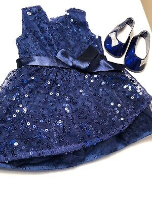 American Girl Doll Happy Holiday Dress Blue Sequin Sparkle Shoes Silver Party