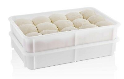 TemoWare Pizza Dough Tray - Dough Proofing Box - White 600x400x75mm Pack of 6