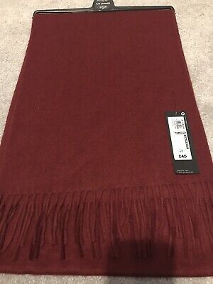 BNWT M&S Men's Pure Cashmere Scarf Red