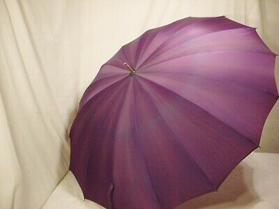 "Vtg Antique Schertz Plum Umbrella Metal Loop Handle 26"" Label Purple Quick Ship!"