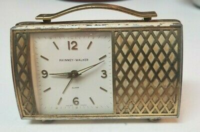 Vintage Phinney Walker Travel Alarm Clock Swiss Made Suitcase/Purse Works