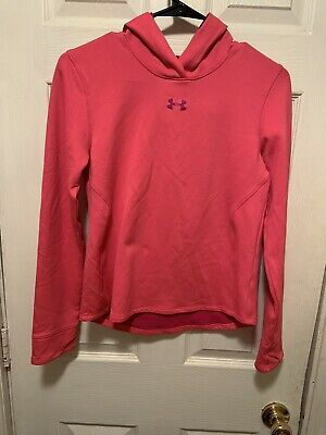Under Armour Fitted Youth Girls Hoodie Pink Sweatshirt Pullover Size YXL