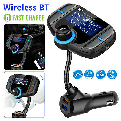 BT 5.0 Car Kit FM Transmitter Wireless Radio Adapter SD Slot USB Charger