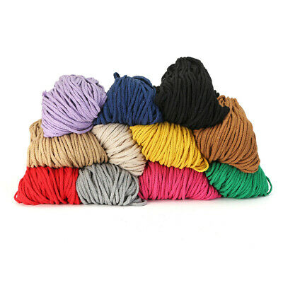 100yards DIY Braided Cotton Rope Macrame Cord Colored Twisted 5mm Thread String